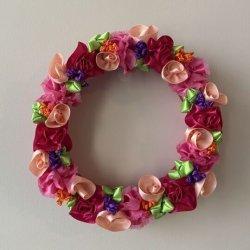 画像1: 【フラワーリース】リボンで作るKawaiiお花